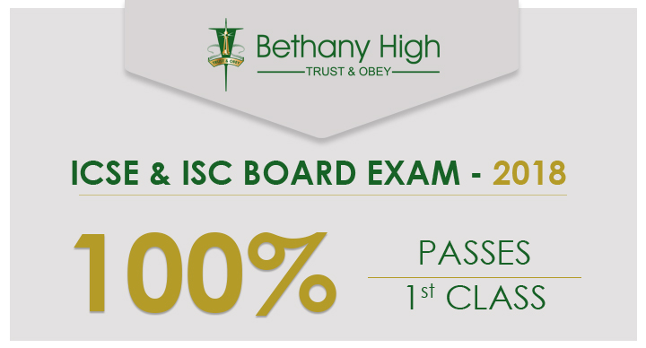 Bethany High is Proud to Announce 100% Results in Both ICSE AND ISC Examinations